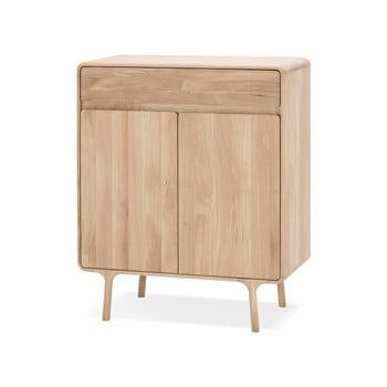Comodă cu sertar din lemn masiv de stejar Gazzda Fawn imagine