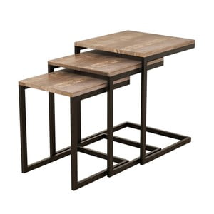 Sada 3 odkládacích stolků z borovicového dřeva Ege