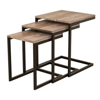 Set 3 mese auxiliare din lemn de pin Ege de la Puqa Design