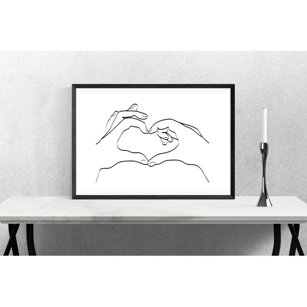 Plakát Blue-Shaker Line Drawing Love Hand Sign, 30 x 40 cm