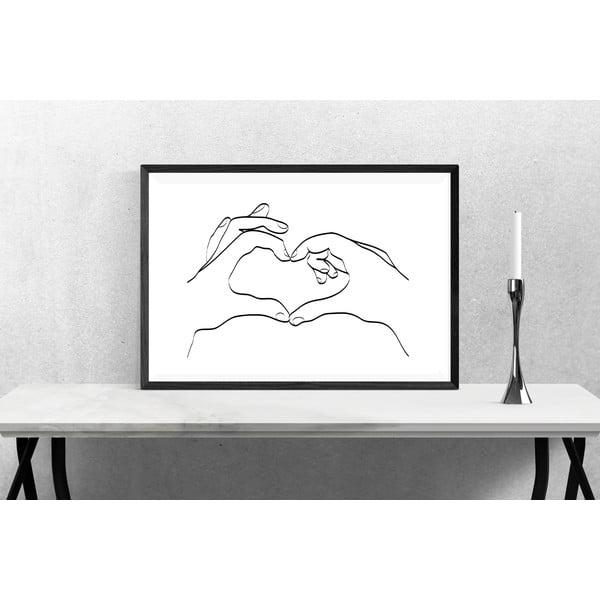 Line Drawing Love Hand Sign poszter, 30 x 40 cm - Blue-Shaker