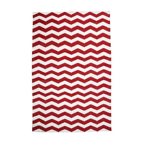 Bavlněný koberec Chevron Ivory/Red, 120x180 cm
