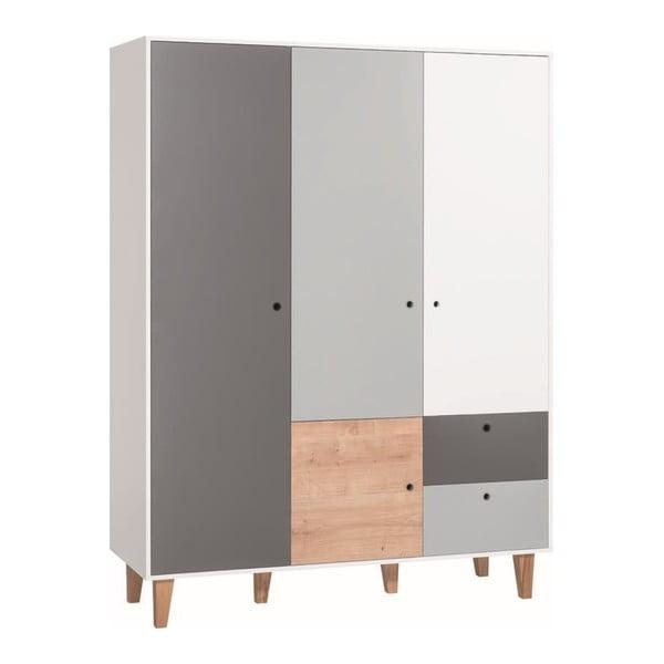 Bielo-sivá štvordverová šatníková skriňa s dreveným detailom Vox Concept