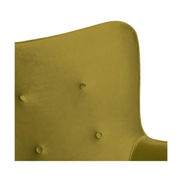 Olivově zelené křeslo a podnožka s podnoží v přírodní barvě Vivonita Cora Velvet