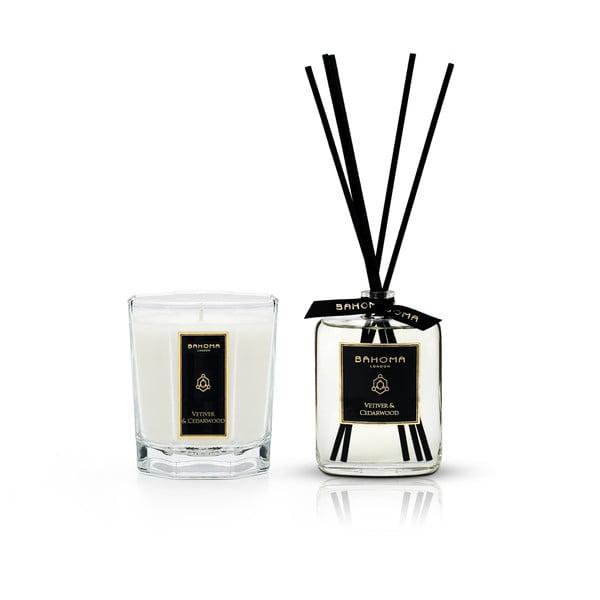 Set lumânări parfumate și difuzor cu aromă de ylang-ylang și iasomie, în cutie de cadou Bahoma London