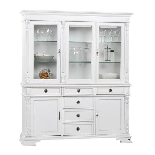 Bílá dřevěná vitrína kombinovatelná s komodou Folke Mozart Figaro, délka 165 cm