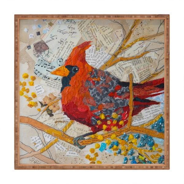 Tavă decorativă din lemn Bird, 40x40cm