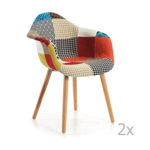 Set 2 scaune cu picioare din lemn și cotiere La Forma Patchwork