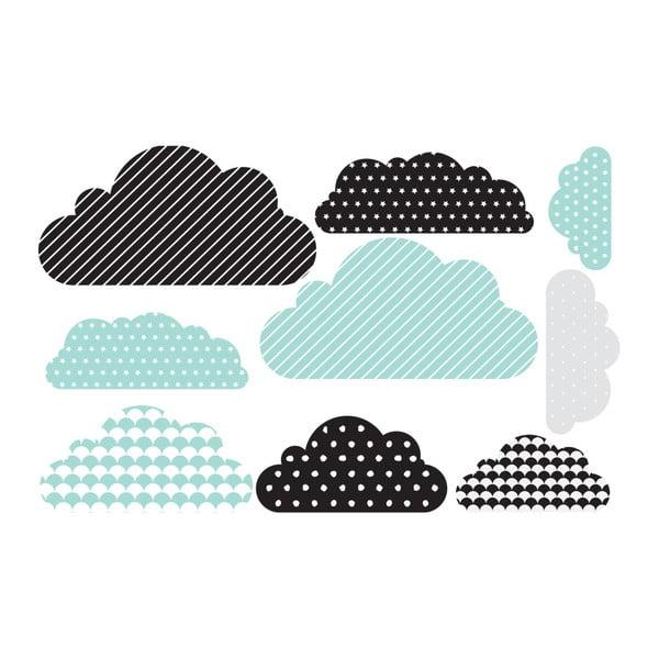 Sada 9 nástěnných samolepek Dekornik Clouds Pastel Scandi