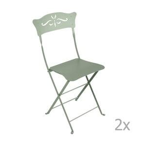 Sada 2 šedozelených skládacích zahradních židlí Fermob Bagatelle