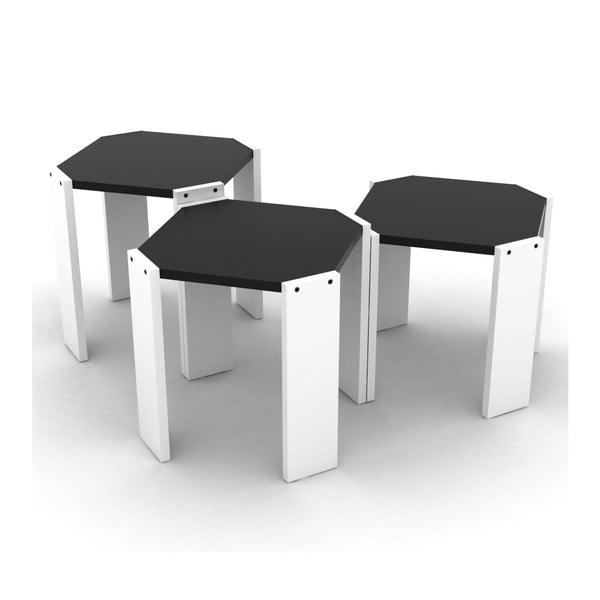 Zestaw 3 białych stolików z czarnym blatem Rafevi Hansel