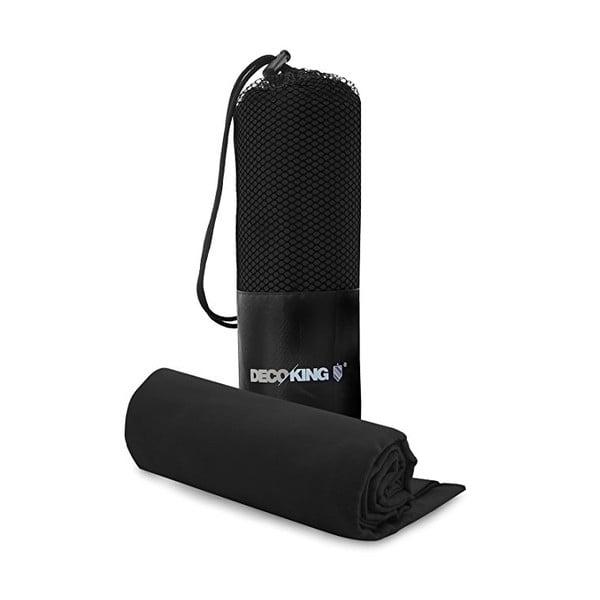 Set čiernej rýchloschnúcej osušky a uteráku DecoKing EKEA, 70 × 140 cm + 30 × 50 cm