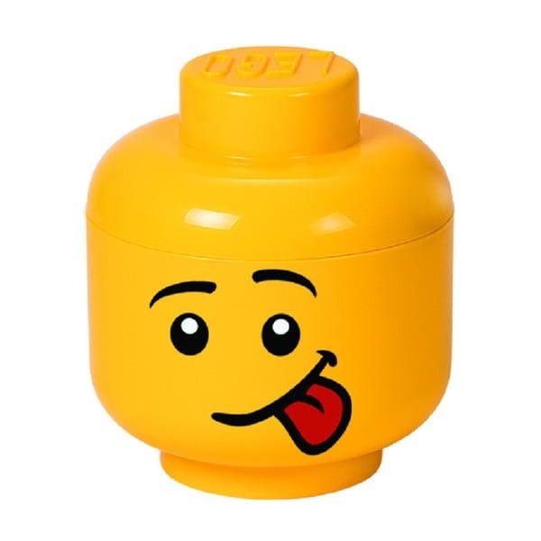 Žltý úložný box v tvare hlavy LEGO® Silly, ⌀ 16,3 cm