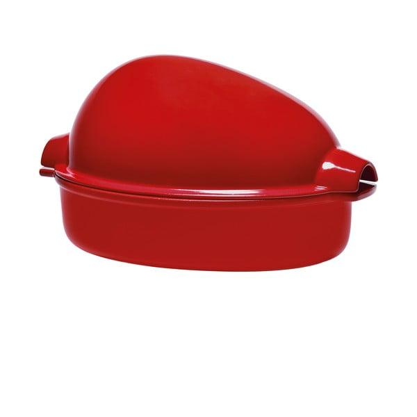 Rotisor din ceramică pentru pui Emile Henry, 41,5 x 27,5 cm, roșu