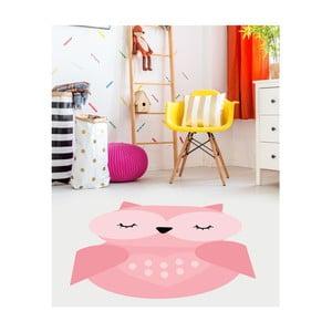 Růžový dětský vinylový koberec Floorart Sovička, 70 x 100 cm