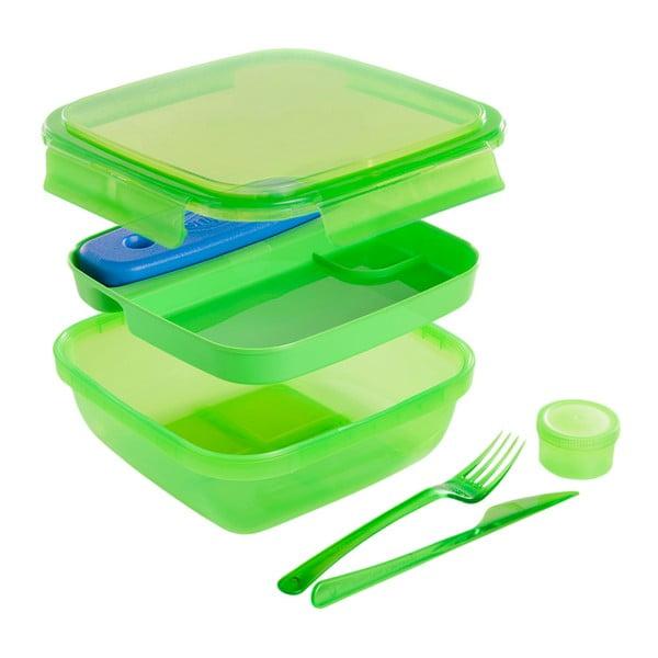 Zelený obedový box s príborom a chladičom Snips Lunch, 1,5 l