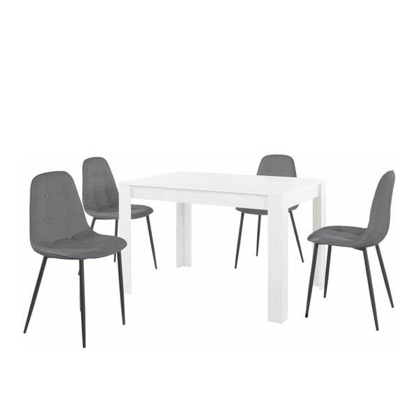 Set bílého jídelního stolu a 4 šedých jídelních židlí Støraa Lori Lamar