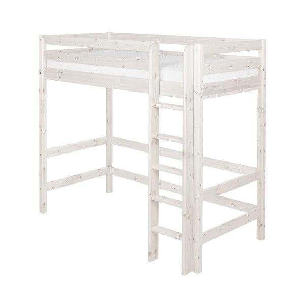 Białe wysokie łóżko dziecięce z drewna sosnowego Flexa Classic, 90x200 cm