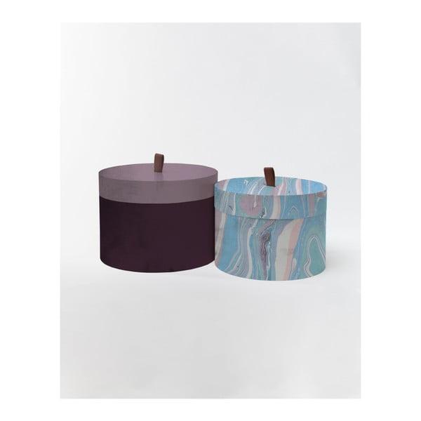 Sada 2 kulatých úložných boxů ze sametu Velvet Atelier Marble