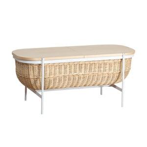 Proutěná lavice s bílou konstrukcí a úložným prostorem OK Design Willow