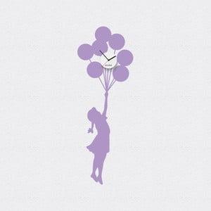 Hodiny se samolepkou Balloon Girl, fialová