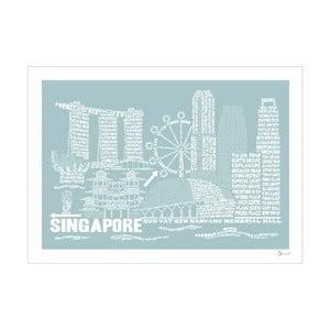 Plakát Singapore Blue&White, 50x70 cm