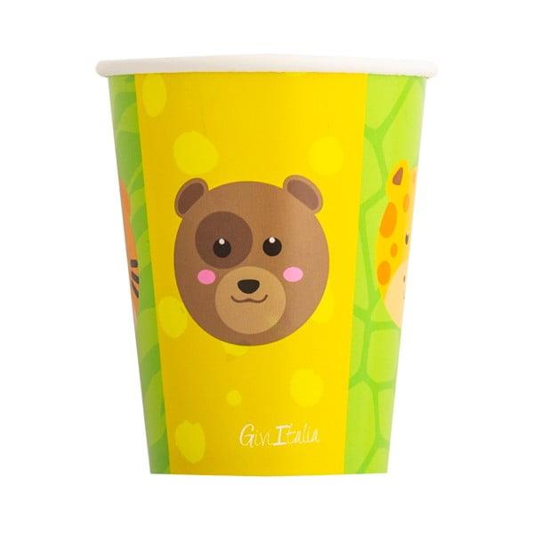 Zestaw 8 papierowych kubeczków GiviItalia Zoo Party, 250 ml