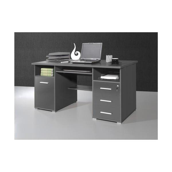 Šedý pracovní stůl se zásuvkami Germania Greyhound, 145x70cm
