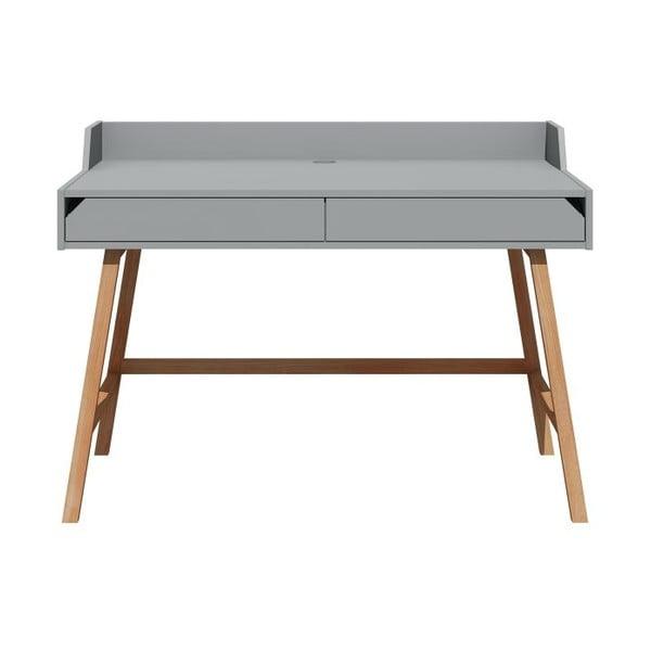 Sivý písací stôl Lotta BELLAMY, šírka 132 cm