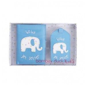 Set de husă pentru pașaport și etichetă pentru bagaj Bombay Duck Blue, albastru