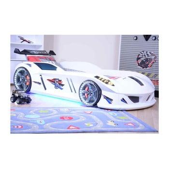 Pat în formă de automobil cu lumini LED pentru copii Speedy, 90 x 190 cm, alb de la Musvenus