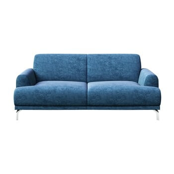 Canapea cu 2 locuri și picioare metalice MESONICA Puzo albastru
