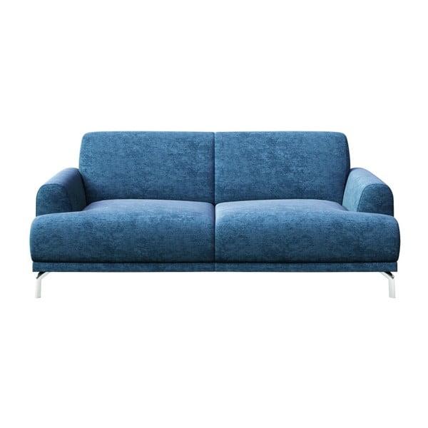 Modrá dvoumístná pohovka s kovovými nohami MESONICA Puzo