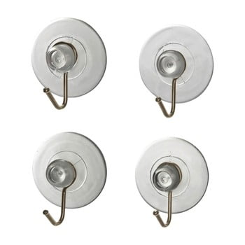 Set 4 cârlige de perete cu ventuză Wenko Suction Hooks, transparente imagine