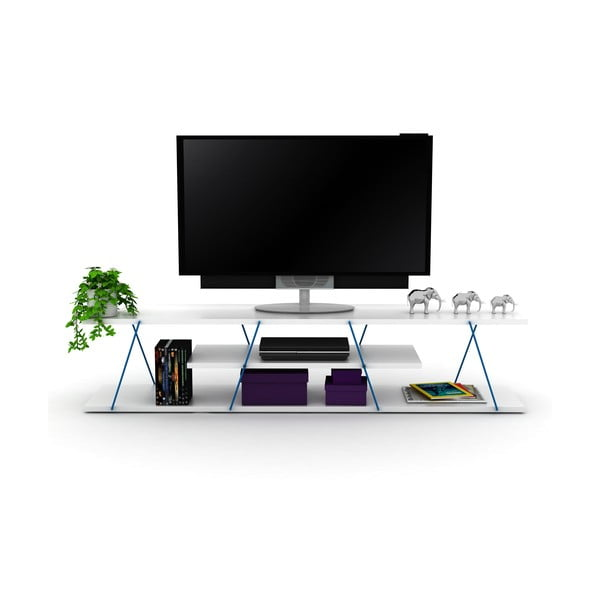 Bílý TV stolek s modrým detailem Rafevi Tars