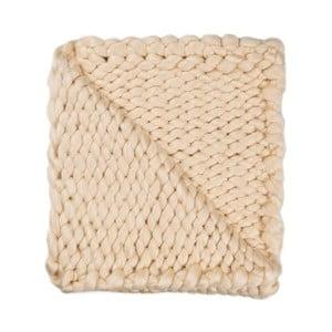 Pătură Chunky Plaids, bej, tricotată manual, 130 x 160 cm