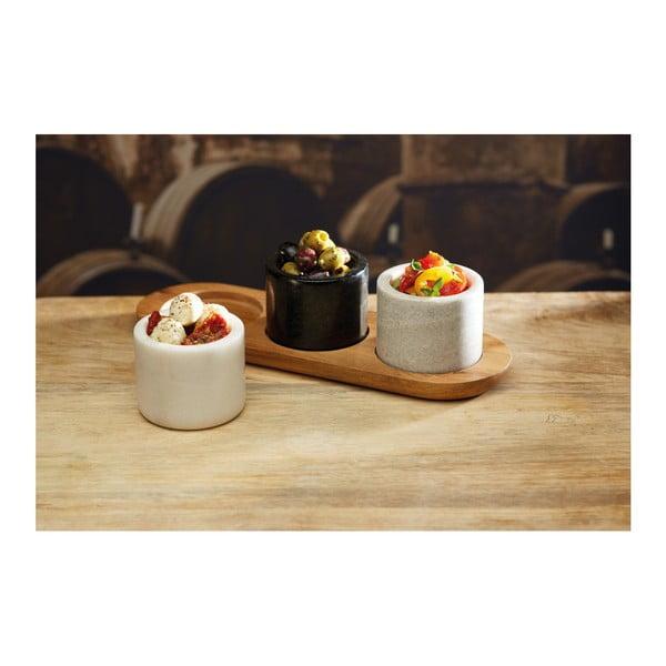 Set 3 mramorových misek s prkénkem Kitchen Craft Master Class