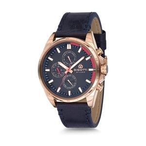 Pánské hodinky s tmavě modrým koženým řemínkem Bigotti Milano Dandy