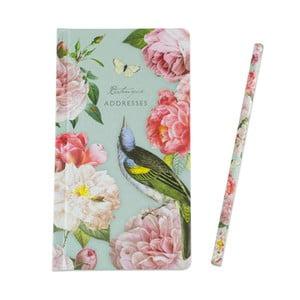 Agendă pentru adrese, cu creion, Portico Designs Botanique, 192 pag.