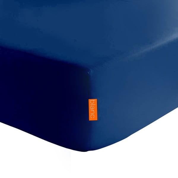 Tmavě modré elastické prostěradlo z čisté bavlny Happy Friday Basic, 90x200cm