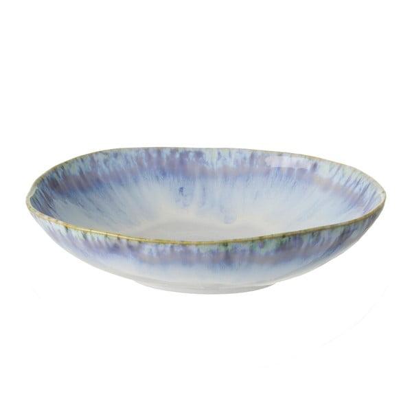 Farfurie pentru paste din gresie ceramică Costa Nova Brisa, ⌀ 23 cm, alb-albastru