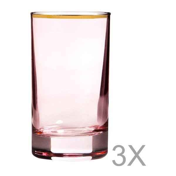 Sada 3 růžových sklenic se zlatým okrajem Mezzo, 70 ml