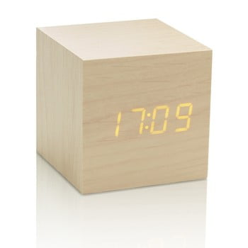 Ceas deșteptător cu LED Gingko Cube Click Clock, bej-galben