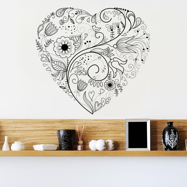 Dekorativní samolepka na zeď Floral Heart
