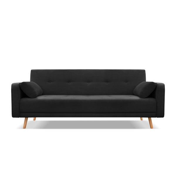 Czarna 3-osobowa sofa rozkładana Cosmopolitan Design Stuttgart