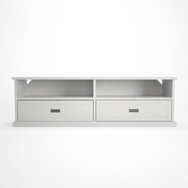 Biała szafka pod TV z drewna bukowego Artemob Lass