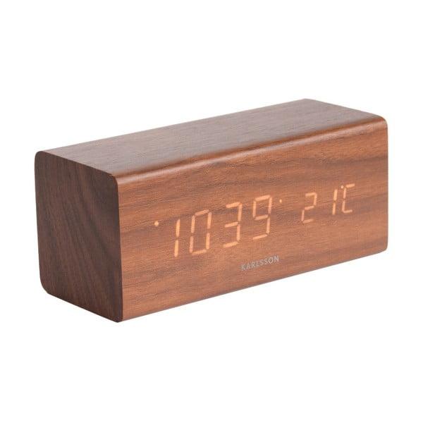 Cube ébresztőóra fa dekorral, 16 x 7,2 cm - Karlsson