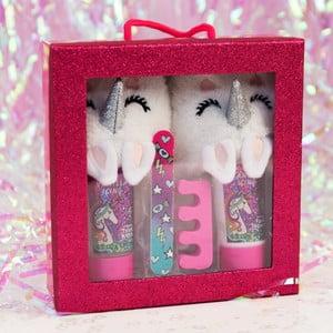 Set dětských pantoflí, mýdla na nohy, pilníku a oddělovače nehtů při lakování Just 4 Kids Unicorn Slipper Set