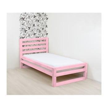 Pat din lemn de o persoană Benlemi DeLuxe, 200x90cm, roz