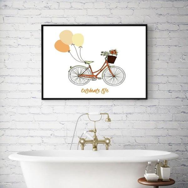 Plakát v dřevěném rámu Retro bike, 38x28 cm